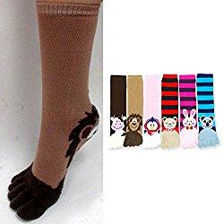 6 Pair ToeSox Calf Length Animal Women's Funny Feet Striped Toe Socks Size 9-11