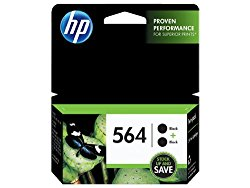 HP 564 Black Original Ink Cartridges, 2 pack (C2P51FN)