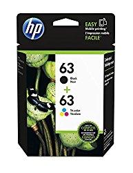 HP 63 Black & Tri-color Original Ink Cartridges, Pack of 2 (L0R46AN)