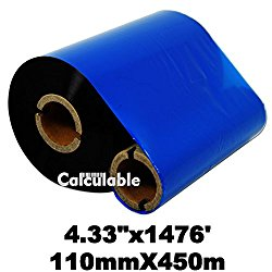 Calculable 4.33″x1476′ (110mmx450m) Thermal Transfer Ribbon INK OUTSIDE Barcode Ribbons for Label, Tag, Barcode Printing Resin Enhanced Wax Ribbon for Zebra Tec Datamax Intermec CITIZEN Printer