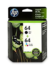 HP 64 Black & Tri-Color Original Ink Cartridges, 2 Cartridges (N9J90AN, N9J89AN)