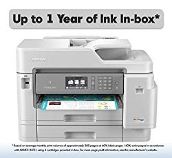 Brother Inkjet Printer, MFC-J5945DW, INKvestment Color Inkjet All-in-One Printer with Wireless, Duplex Printing, NFC and Up to 1-Year of Ink in-Box