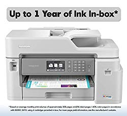 Brother Inkjet Printer, MFC-J5845DW, INKvestment Color Inkjet All-in-One Printer with Wireless, Duplex Printing and Up to 1-Year of Ink in-Box