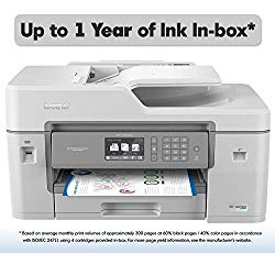 "Brother Inkjet Printer, MFC-J6545DW, INKvestment Color Inkjet All-in-One Printer with Wireless, Duplex Printing, 11"" x 17"" Scan Glass and Up to 1-Year of Ink in-Box"