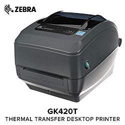 Zebra – GX420t Thermal Transfer Desktop Printer for Labels, Receipts, Barcodes, Tags, and Wrist Bands – Print Width of 4 in – USB, Serial, and Parallel Port Connectivity