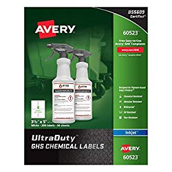 Avery Ultra Duty GHS Chemical Labels for Pigment Inkjet Printers, Waterproof, UV Resistant, 3.5″ x 5″ (60523)