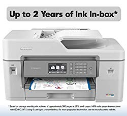 "Brother Inkjet Printer, MFC-J6545DW XL, INKvestment Color Inkjet All-in-One Printer with Wireless, Duplex Printing, 11"" x 17"" Scan Glass and Up to 2-Years of Ink in-Box"