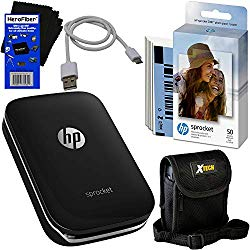 HP Sprocket Photo Printer, Print Social Media Photos on 2×3 Sticky-Backed Paper (Black) + Photo Paper (60 Sheets) + Protective Case + USB Cable + HeroFiber Gentle Cleaning Cloth
