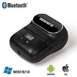 BESHENG M110 Bluetooth Handheld Label Printer, Colorful Designed Mini Portable Smart Label Maker, Direct Thermal Label Writer Compatible for iPhone/iPad/MAC/Android & PC (Black)