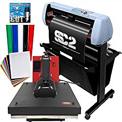 Bundle 28″ SC2 Vinyl Cutter w/Catch Basket, 15″x15″ Heat Press, Sign Vinyl, Heat Press Vinyl