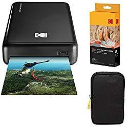 Kodak Mini2 Instant Photo Printer (Black) Basic Bundle + Paper (20 Sheets) + Deluxe Case