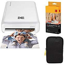 Kodak Mini2 Instant Photo Printer (White) Basic Bundle + Paper (20 Sheets) + Deluxe Case