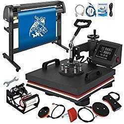 Mophorn Heat Press Machine 15×15 inch 5in1 T-Shirt Heat Press and Vinyl Cutter 54 inch Plotter Machine 1350mm Paper Feed Vinyl Cutter Plotter