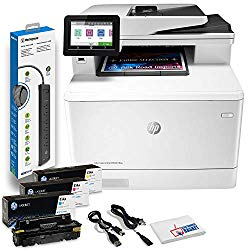 HP Color Laserjet Pro MFP M479fdw Wireless Laser All-in-One Printer, Copier, Scanner, Fax, W1A80A#BGJ with Power Strip Surge Protector + Electronics Basket Microfiber Cleaning Cloth
